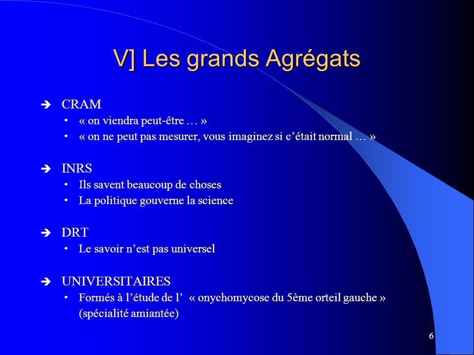 V] Les grands Agrégats CRAM INRS DRT UNIVERSITAIRES